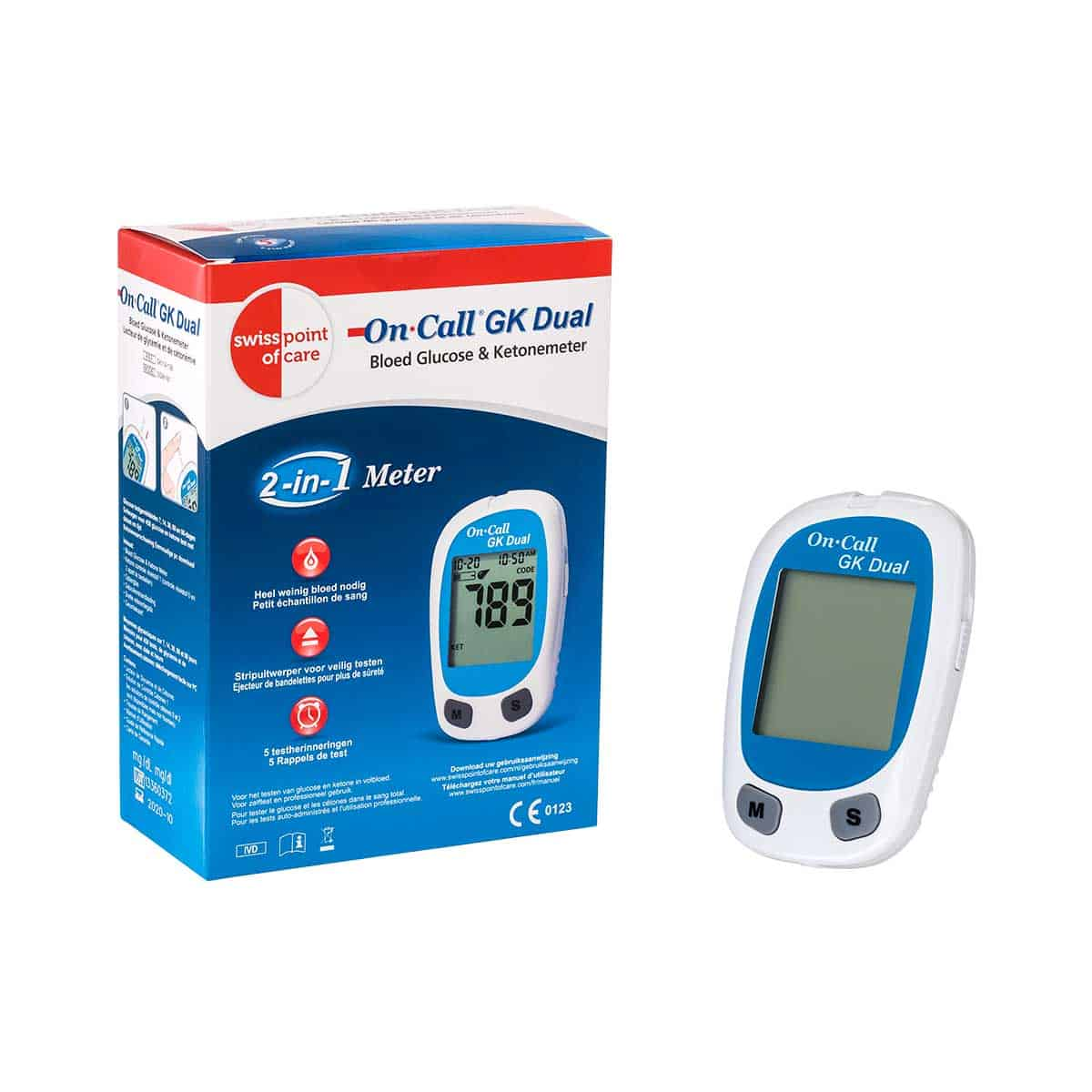 Gk Dual Glucose And Ketone Meter Excl Teststrips Lancets Lancing Device Swiss Point Of Care
