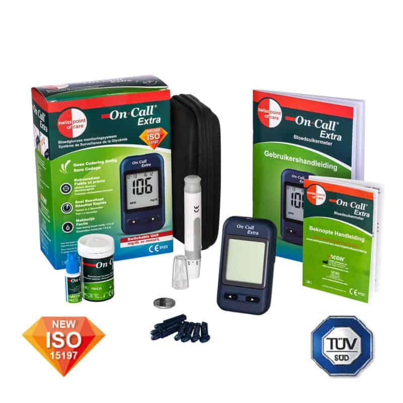 De On Call Extra Bloedsuikermeter is wel ISO en TUV gecertificeerd