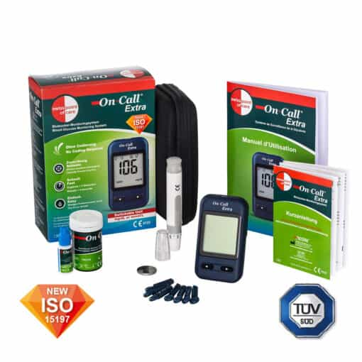 The On Call Extra Bloodsugar Glucosemeter Starterpack is ISO and TUV certified