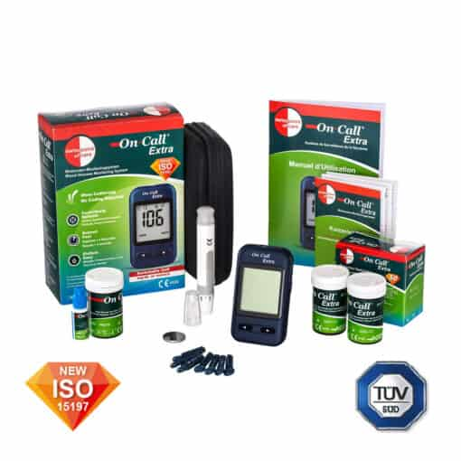 The On Call Extra Bloodsugar Glucosemeter Starterpack Deluxe is ISO and TUV certified
