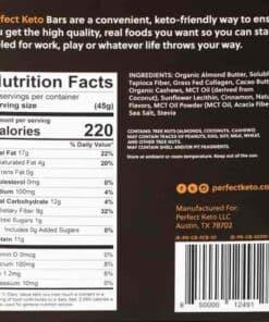 Perfect Keto - Keto Bars Cinnamon Roll - Nutritional Information