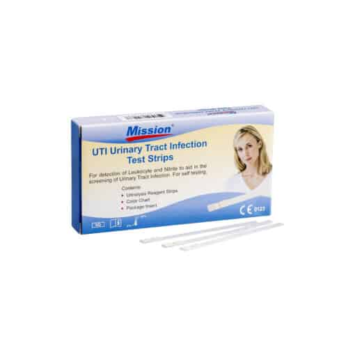 SwissPointofCare Mission Urine Tract Infection Teststrips 3 strips box with strips