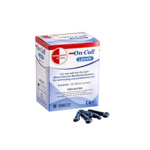 SwissPointofCare OnCall 100 Lancetten doos en lancetten
