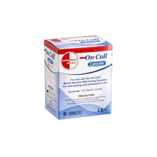 SwissPointofCare OnCall 100 Lancets box front