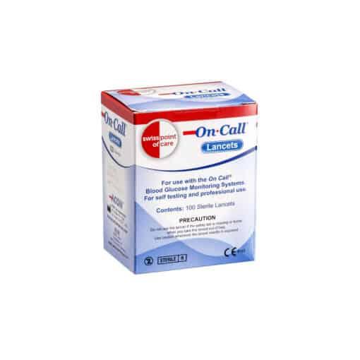 SwissPointofCare OnCall 100 Lanzetten Box vorne