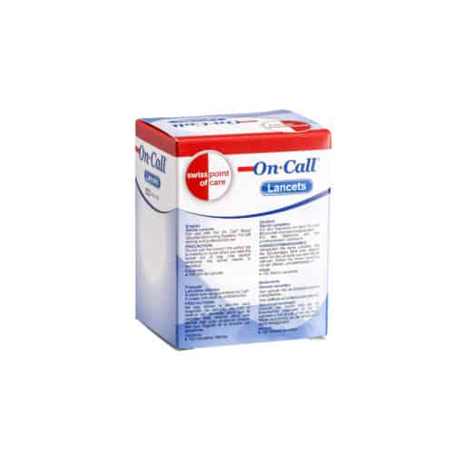SwissPointofCare OnCall 100 Lancets box back